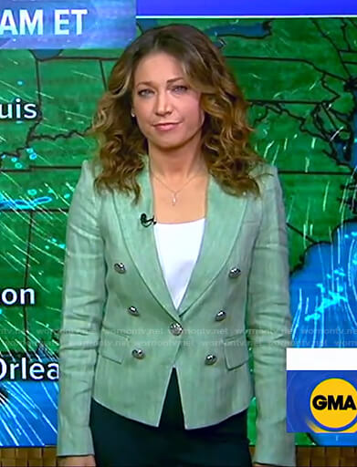 Ginger's green striped blazer on Good Morning America