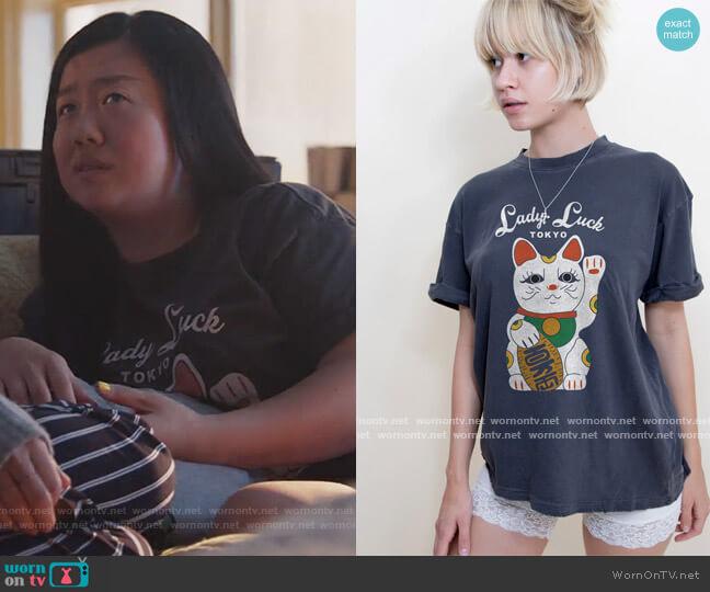 Lady Luck Boyfriend Tee by Girl Dangerous worn by Alice Kwan (Sherry Cola) on Good Trouble