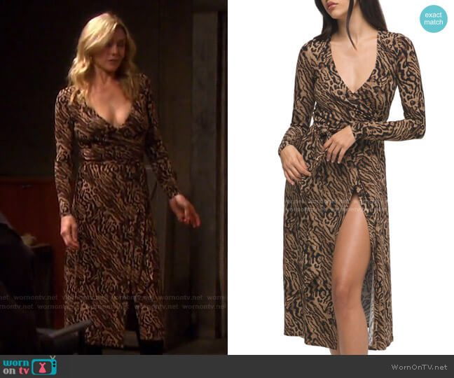Animal Print Long Sleeve Wrap Dress by Good American worn by Kristen DiMera (Stacy Haiduk) on Days of our Lives
