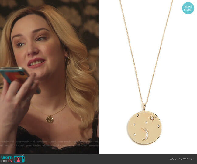 Luna Coin Pendant Necklace by Gorjana worn by Davia (Emma Hunton) on Good Trouble