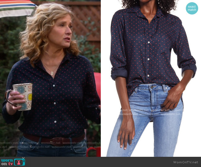 Grayson The Hero Print Button-Up Shirt in Paige Navy W/ Red Ladybug worn by Vanessa Baxter (Nancy Travis) on Last Man Standing