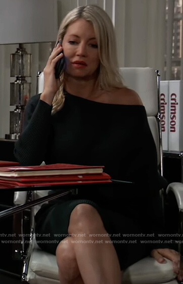 Nina's green ribbed off shoulder dress on General Hospital