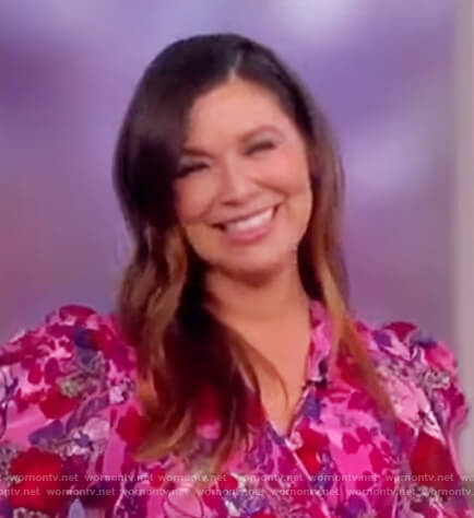 Gretta Monahan's pink floral wrap dress on The View