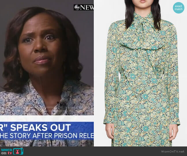 Liberty Floral Print Blouse by Gucci worn by Deborah Roberts  on Good Morning America
