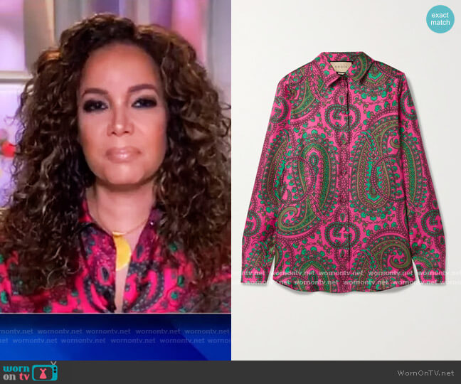 Paisley-print silk-twill shirt by Gucci worn by Sunny Hostin  on The View