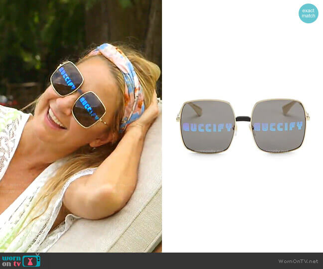 Guccify Unisex Square Sunglasses by Gucci worn by Kary Brittingham  on The Real Housewives of Dallas