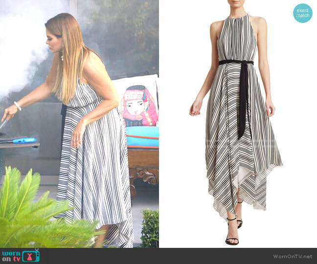 Sleeveless Strip Back Striped Handkerchief Dress by Halston worn by D'Andra Simmons  on The Real Housewives of Dallas