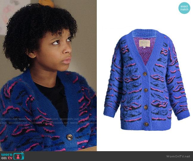 Hannah Banana Blue Tiger Pattern Fuzzy Fashion Cardigan worn by Aubrey Williams (Dani Lane) on Kenan