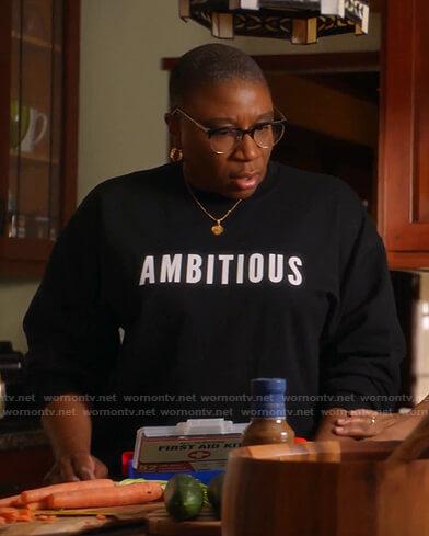 Hen's black Ambitious print Sweatshirt on 9-1-1
