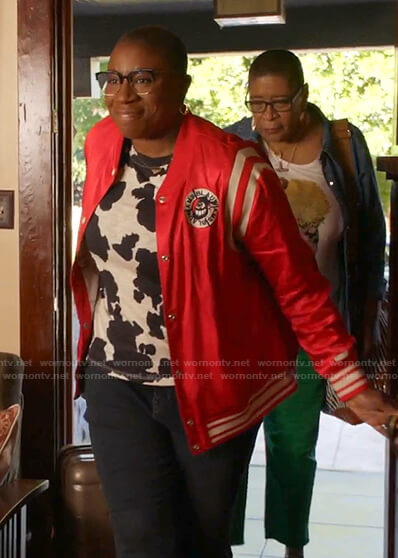 Hen's cow print tee and red bomber jacket on 9-1-1