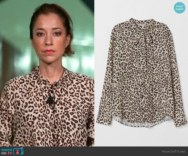 H&M Blouse with tie worn by Mireya Villarreal  on CBS Mornings