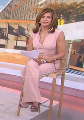 Hoda's pink beige belted jumpsuit on Today