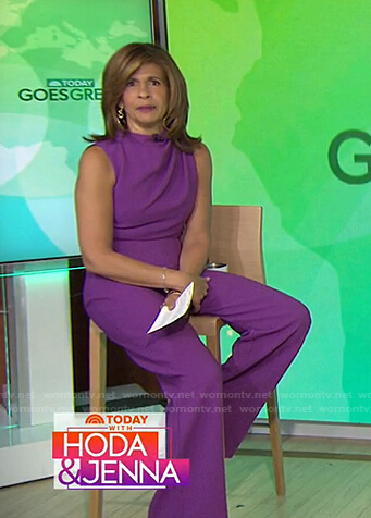 Hoda's purple sleeveless jumpsuit on Today