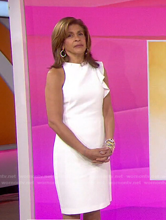 Hoda's white ruffle sheath dress on Today