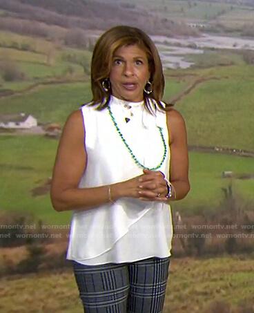 Hoda's white tie neck sleeveless top on Today