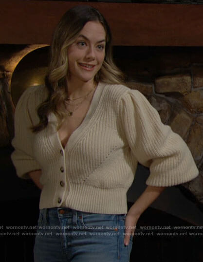 Hope's beige v-neck cardigan on The Bold and the Beautiful