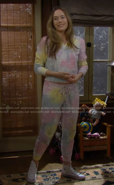 Hope's rainbow tie dye hoodie and pants set on The Bold and the Beautiful