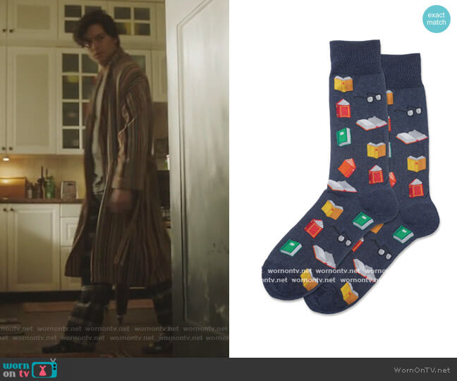 Book Crew Socks by Hot Sox worn by Jughead Jones (Cole Sprouse) on Riverdale