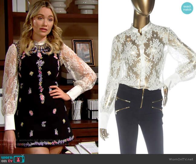 I.D. Sarrieri Lace Button Up Bodysuit worn by Flo Fulton (Katrina Bowden) on The Bold & the Beautiful