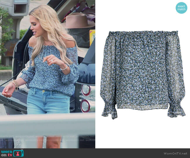 Thea Floral Off-The-Shoulder Top by Intermix worn by Jackie Goldschneider  on The Real Housewives of New Jersey