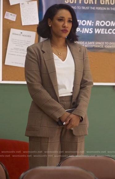 Iris's brown plaid suit on The Flash