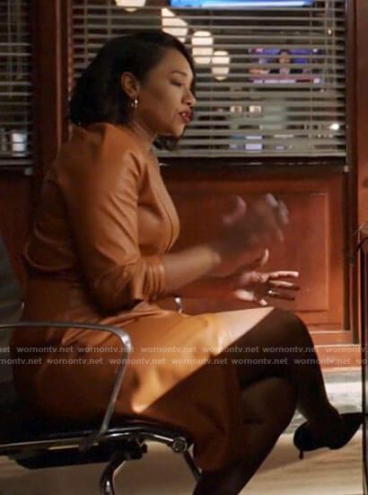Iris's leather wrap dress on The Flash