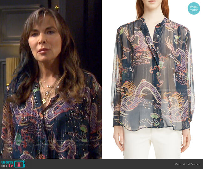 Daws Dragon Print Silk Blend Shirt by Isabel Marant worn by Kate Roberts (Lauren Koslow) on Days of our Lives