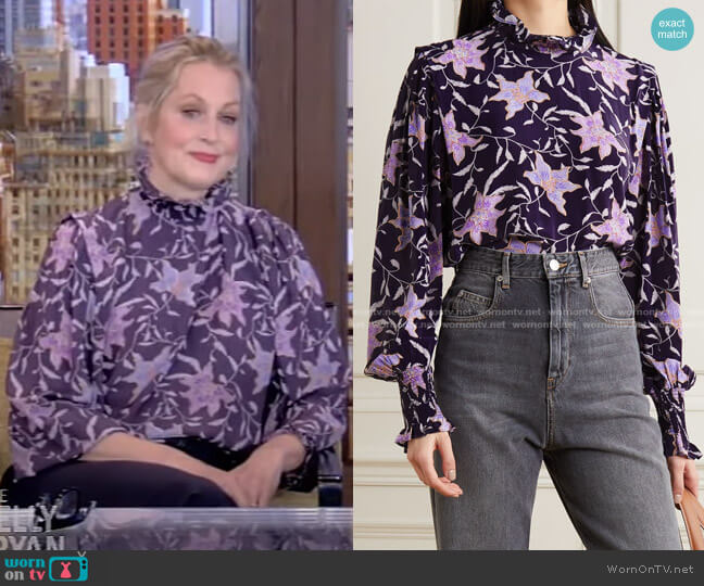 Yoshi Shirred Floral-Print Georgette Blouse by Isabel Marant Etoile worn by Ali Wentworth on Live with Kelly and Ryan