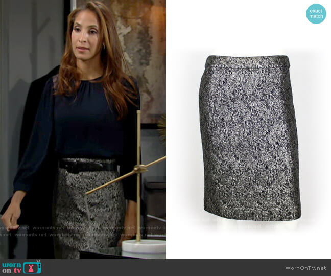 J. Crew Palmilla Metallic Lace Pencil Skirt worn by Lily Winters (Christel Khalil) on The Young & the Restless