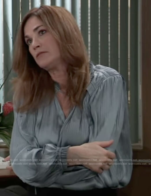 Jackie's blue pleated blouse on General Hospital