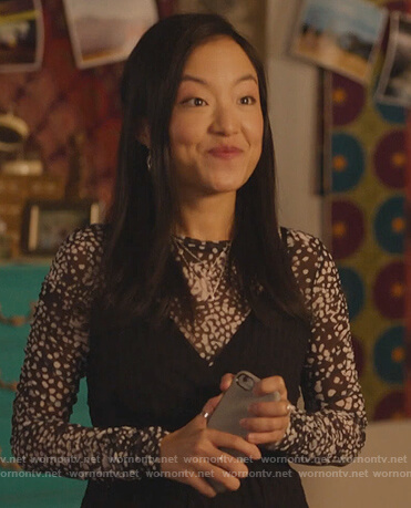 Janet's black printed mesh top on Kims Convenience