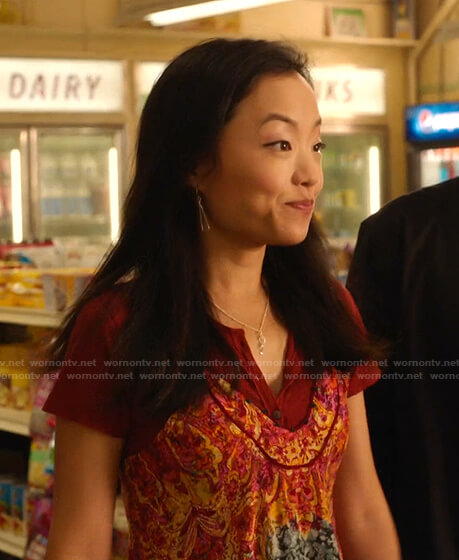 Janet's printed camisole on Kims Convenience