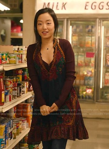 Janet's floral v-neck mini dress on Kims Convenience