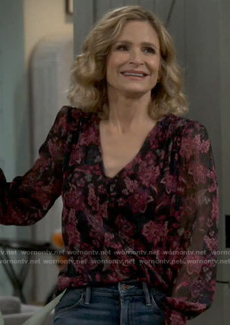 Jean's black and pink floral blouse on Call Your Mother