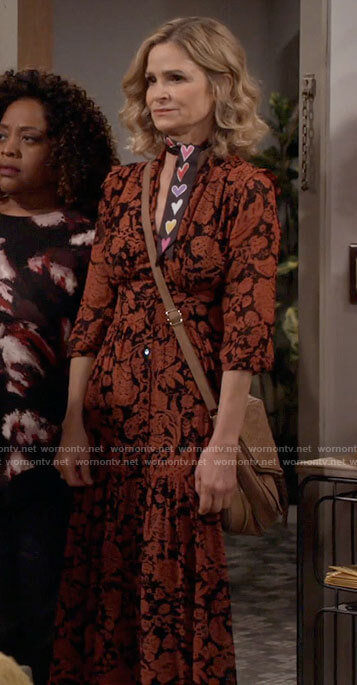Jean's black and red floral dress on Call Your Mother