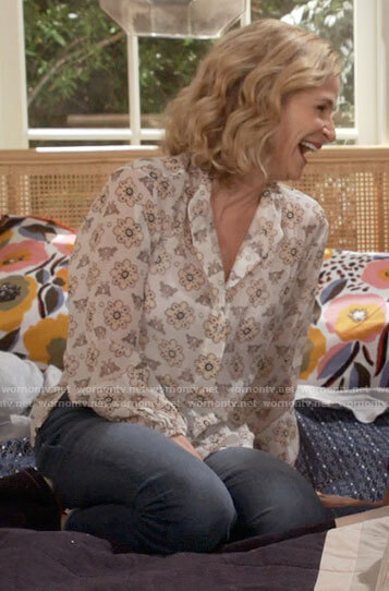 Jean's white printed blouse on Call Your Mother