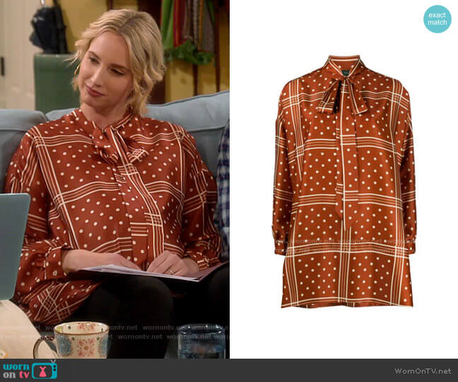 Jejia relaxed fit polka dot print blouse worn by Mandy Baxter (Molly McCook) on Last Man Standing