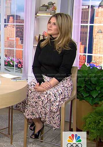 Jenna's black turtleneck sweater and printed skirt on Today