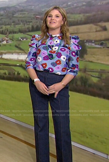 Jenna's blue floral top and flare jeans on Today