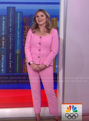 Jenna's pink square neck top and pants on Today