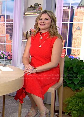 Jenna's red mock neck midi dress on Today