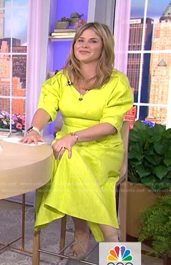 Jenna's yellow puff sleeve midi dress on Today