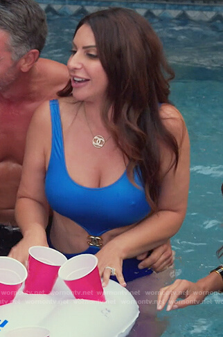 Jeniffer's blue coverup and swimsuit on The Real Housewives of New Jersey