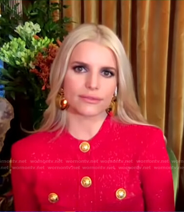 Jessica Simpson's red cardigan with gold buttons on Good Morning America