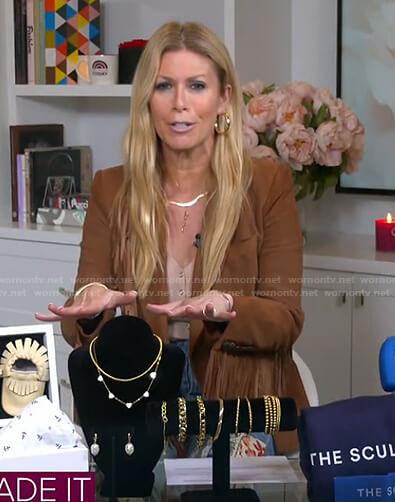 Jill's brown fringed blazer and patchwork flare jeans on Today