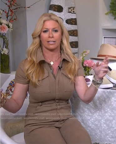 Jill's khaki zip front utility jumpsuit on Today