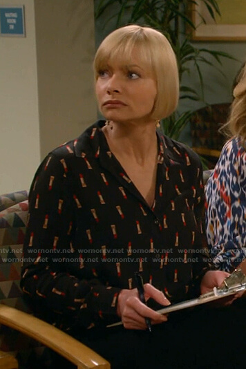 Jill's black lipstick print blouse on Mom