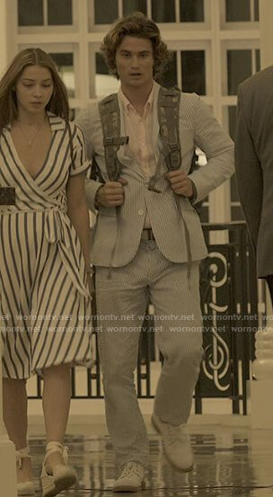 John B's blue striped linen suit on Outer Banks