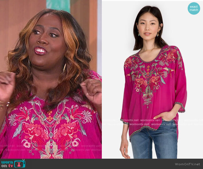 Merseielle Blouse by Johnny Was worn by Sheryl Underwood  on The Talk