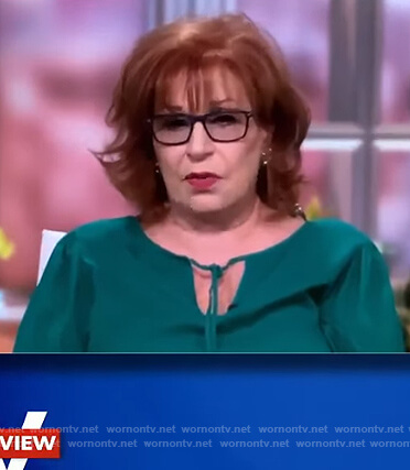 Joy's green keyhole tie neck blouse on The View